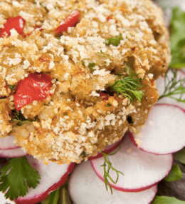 Pan Fried Potato Cakes with Carroll's Crumbed Ham & Red Onion